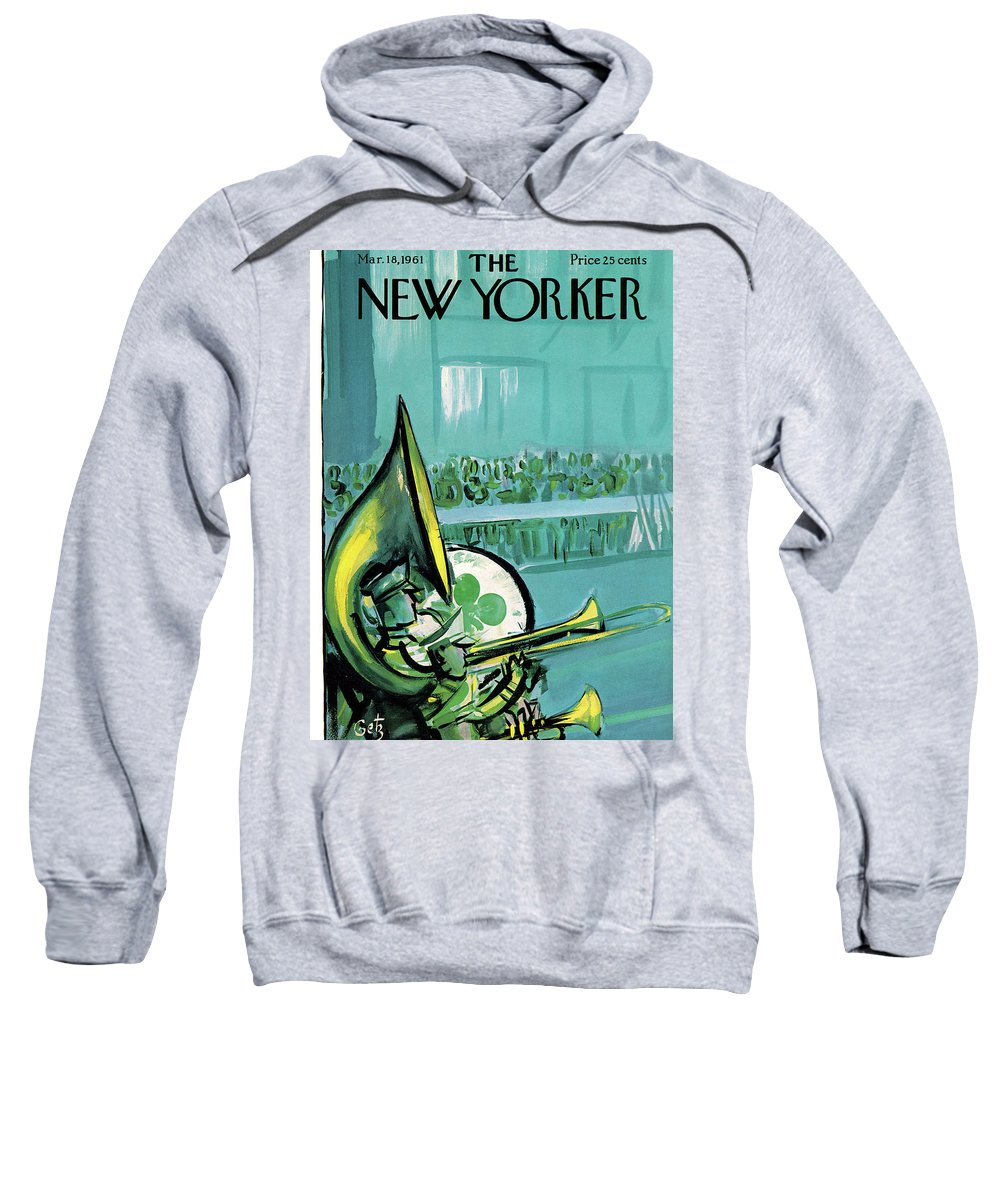 Arthur Getz Agt Sweatshirt featuring the painting New Yorker March 18th, 1961 by Arthur Getz