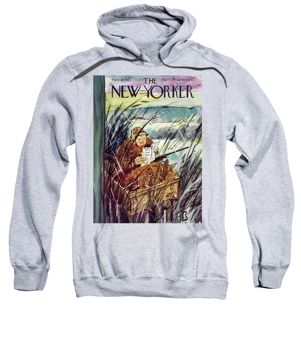 Illustration Sweatshirt featuring the painting New Yorker November 20 1937 by Perry Barlow