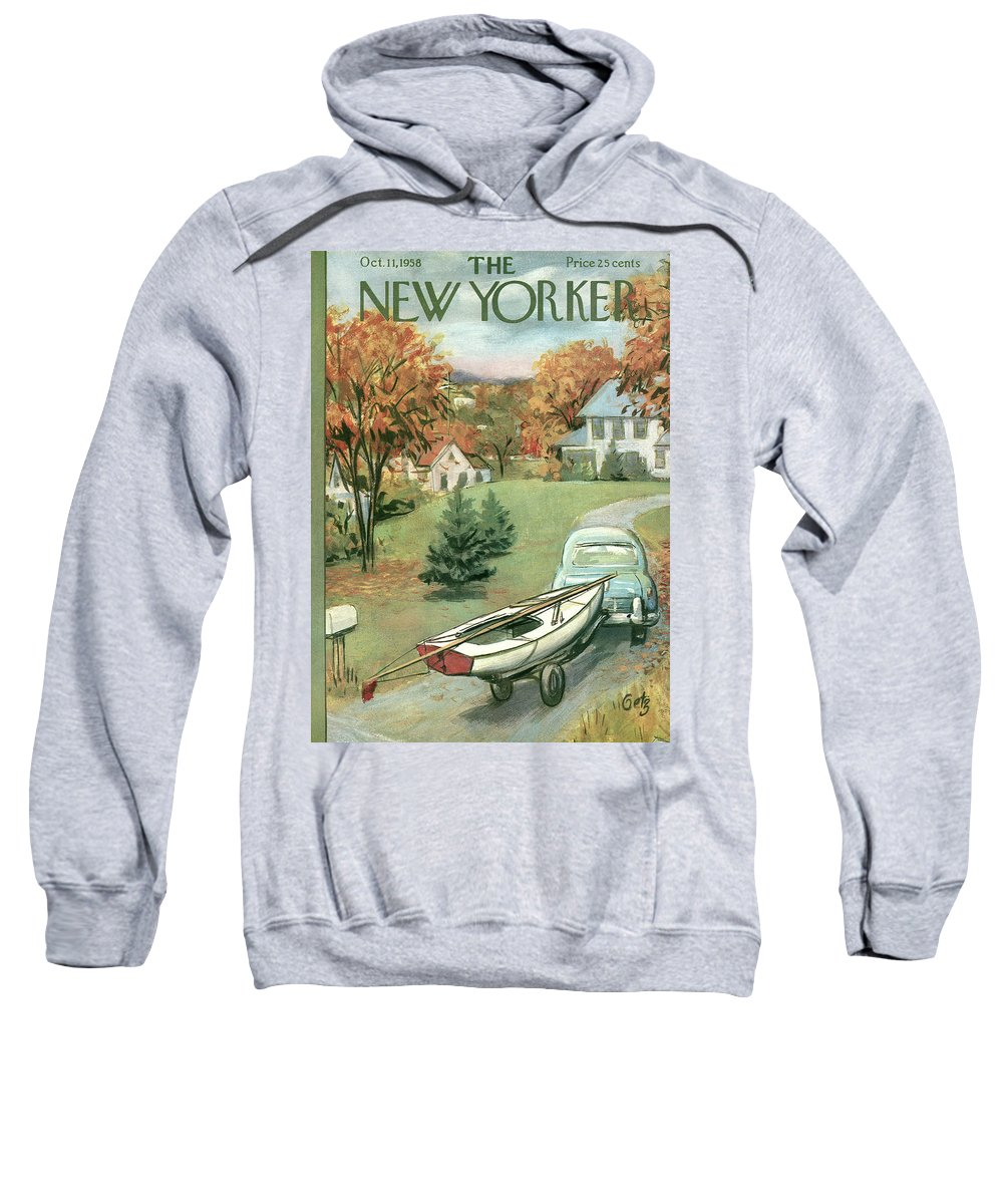 Arthur Getz Agt Sweatshirt featuring the painting New Yorker October 11th, 1958 by Arthur Getz