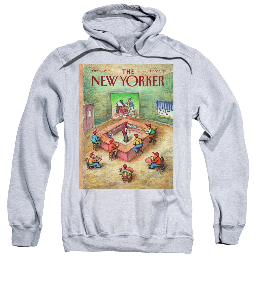 Leisure Sweatshirt featuring the painting New Yorker October 19th, 1987 by John O'Brien