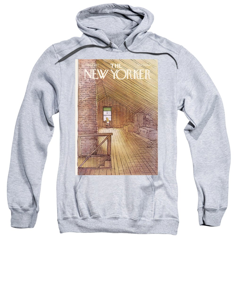 Attic Sweatshirt featuring the painting New Yorker September 5th, 1977 by Arthur Getz