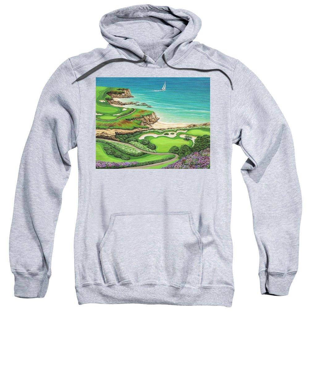 Ocean Sweatshirt featuring the painting Newport Coast by Jane Girardot