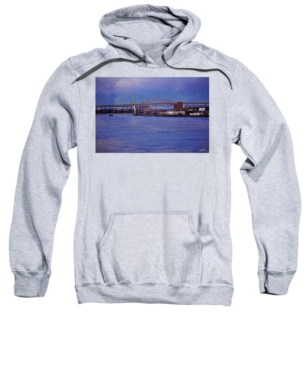 Bridge Sweatshirt featuring the photograph Night Descends Over The Triboro Bridge - Nyc by Madeline Ellis