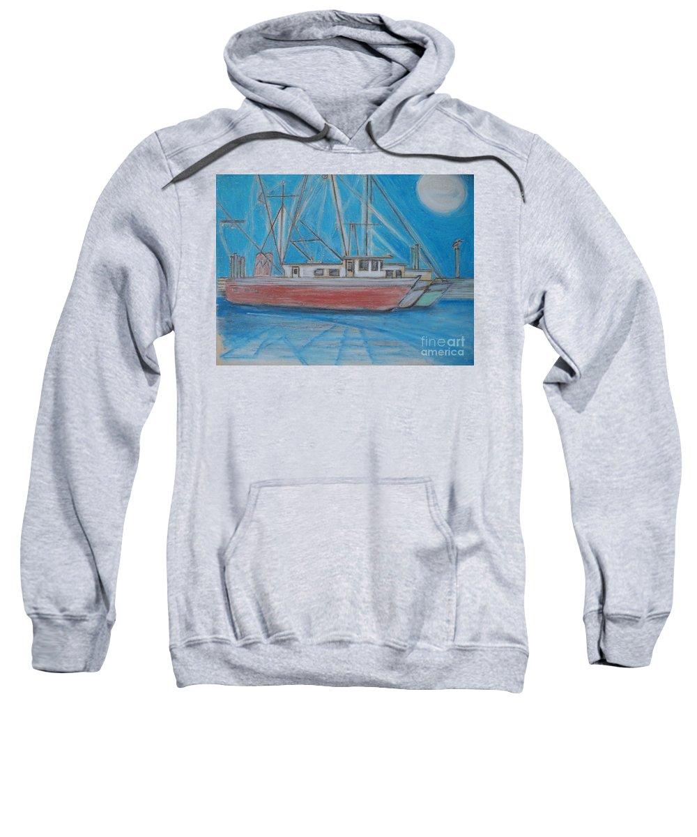 Night Sweatshirt featuring the painting Night Fishing by Eric Schiabor