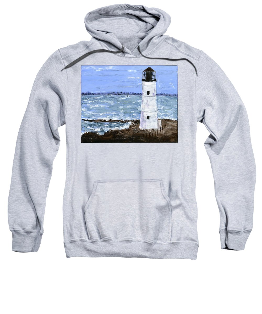 Lighthouse Sweatshirt featuring the painting Night Light by Alice Faber