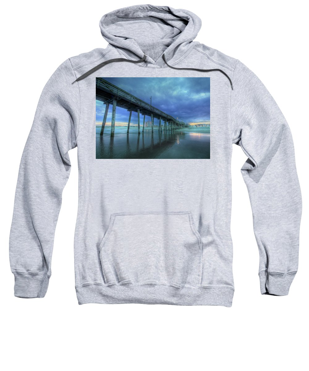 Ocean City Sweatshirt featuring the photograph Nightfall At The Pier by Lori Deiter