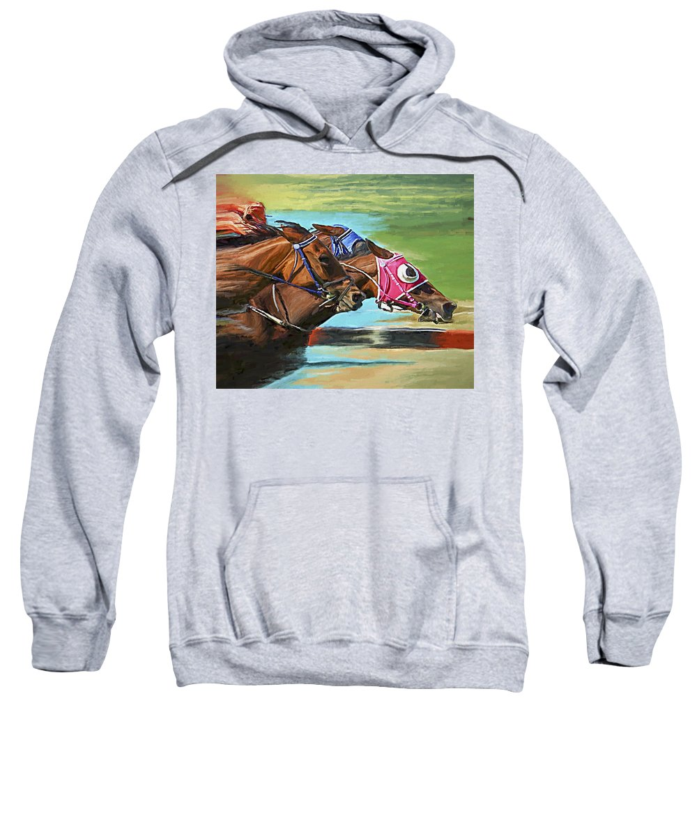 Horses Sweatshirt featuring the painting Nikita By A Head by David Wagner