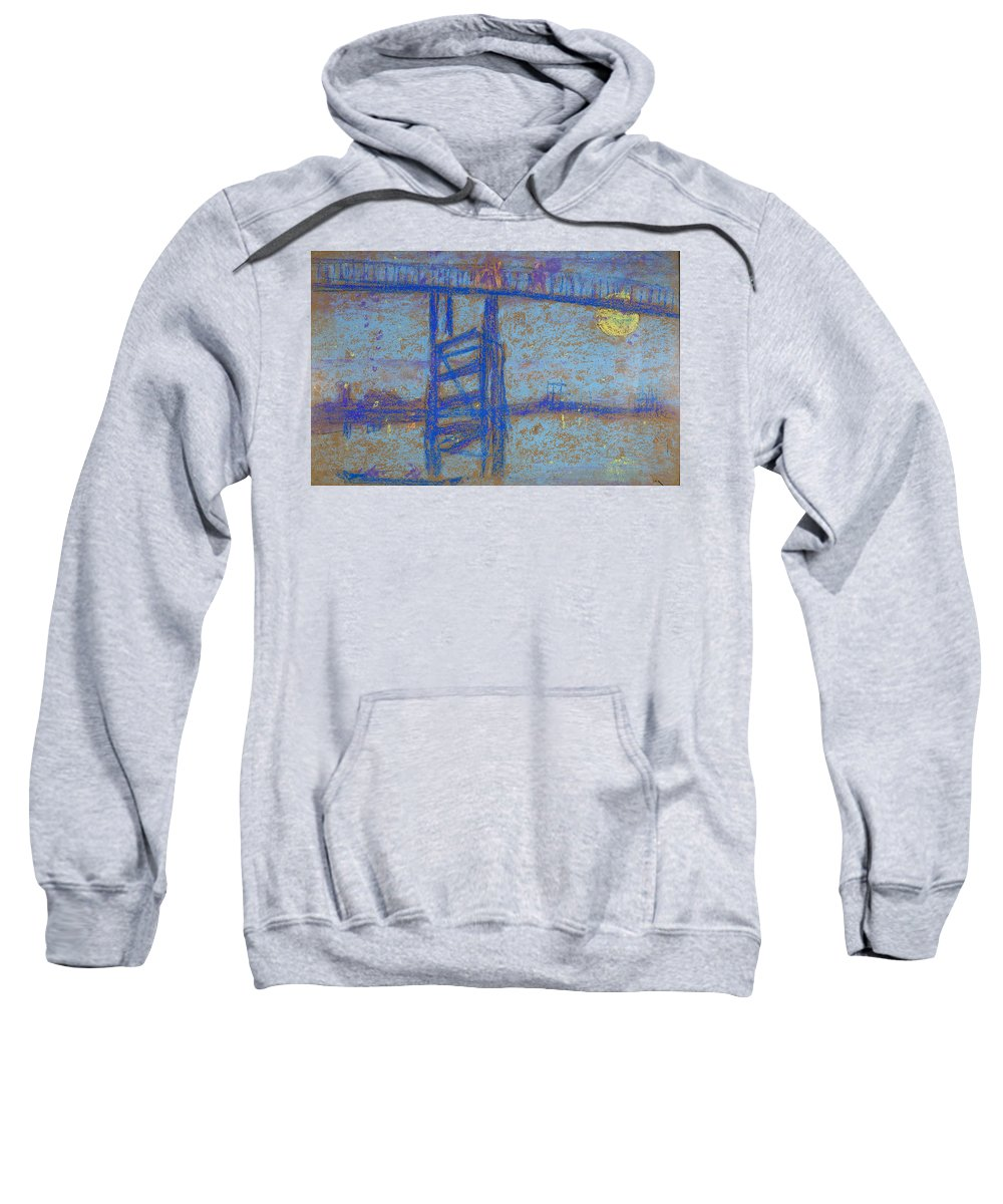 James Abbott Mcneill Whistler Sweatshirt featuring the drawing Nocturne. Battersea Bridge by James Abbott McNeill Whistler