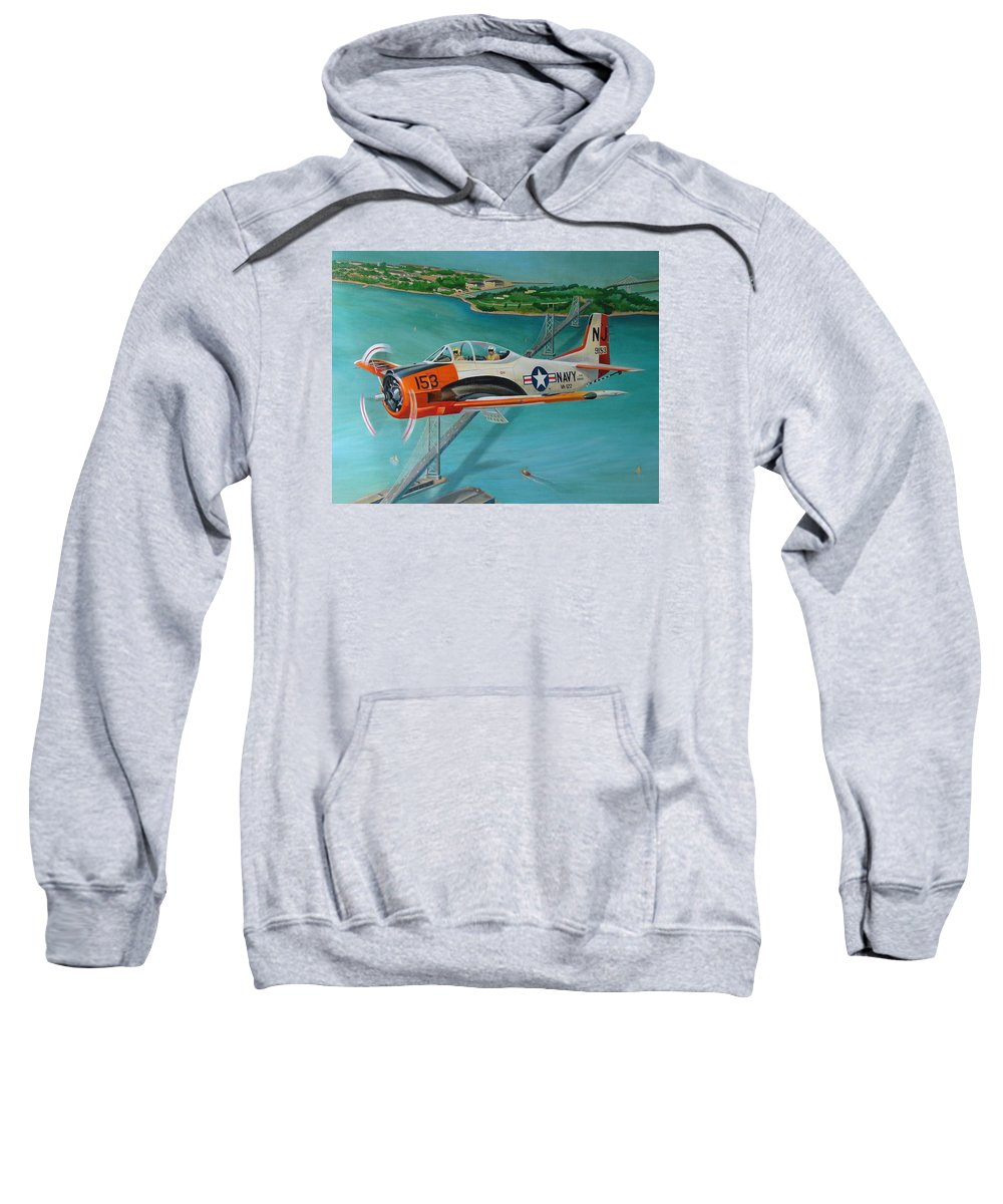 Aviation Sweatshirt featuring the painting North American T-28 Trainer by Stuart Swartz