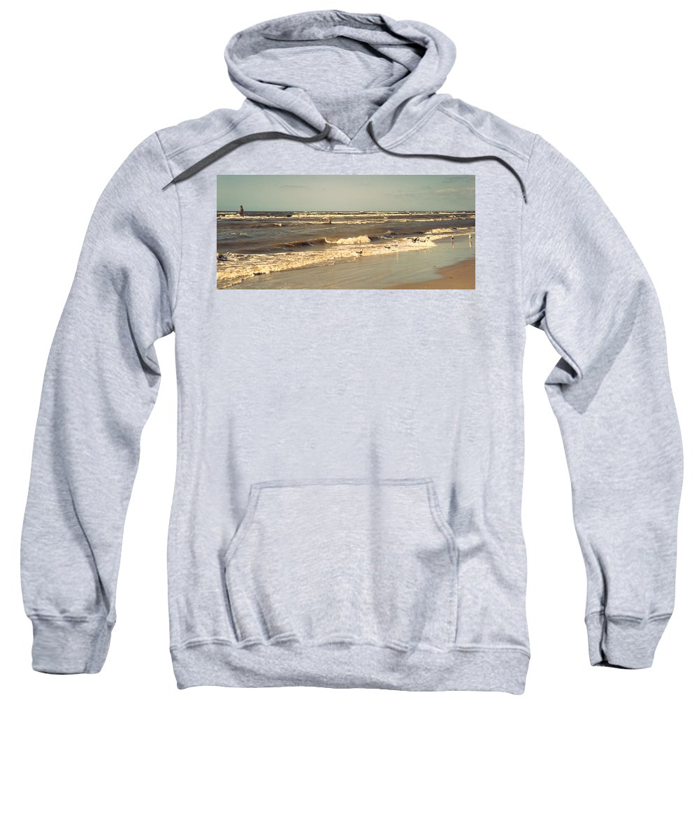Nature Sweatshirt featuring the photograph North Sea Coastal Line 1. Holland by Jenny Rainbow