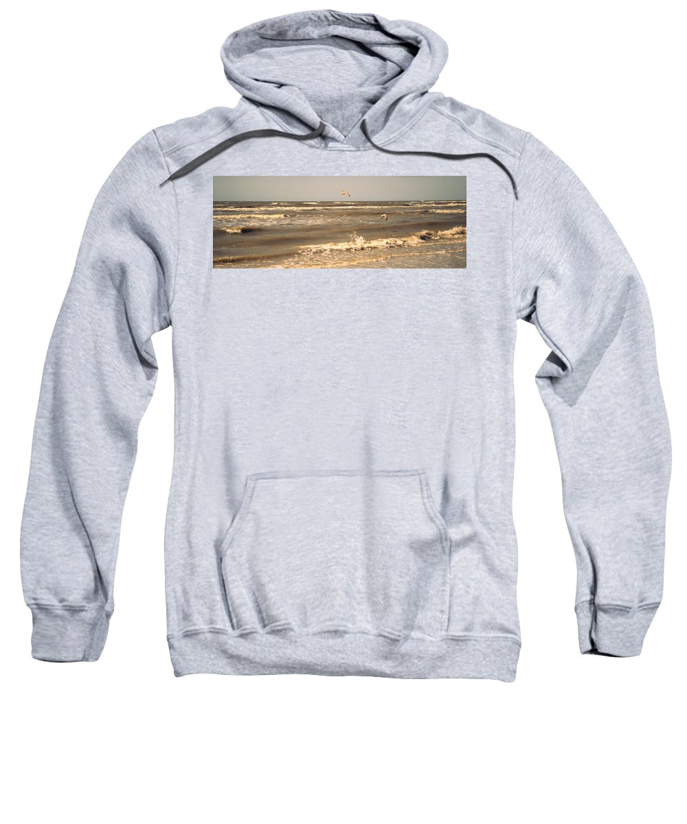 Nature Sweatshirt featuring the photograph North Sea Coastal Line. Holland by Jenny Rainbow