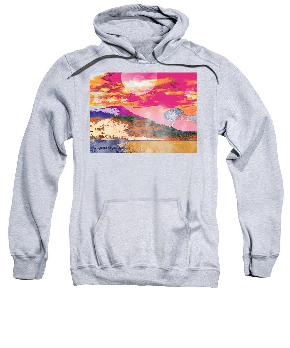 Augusta Stylianou Sweatshirt featuring the digital art Space Landscape by Augusta Stylianou