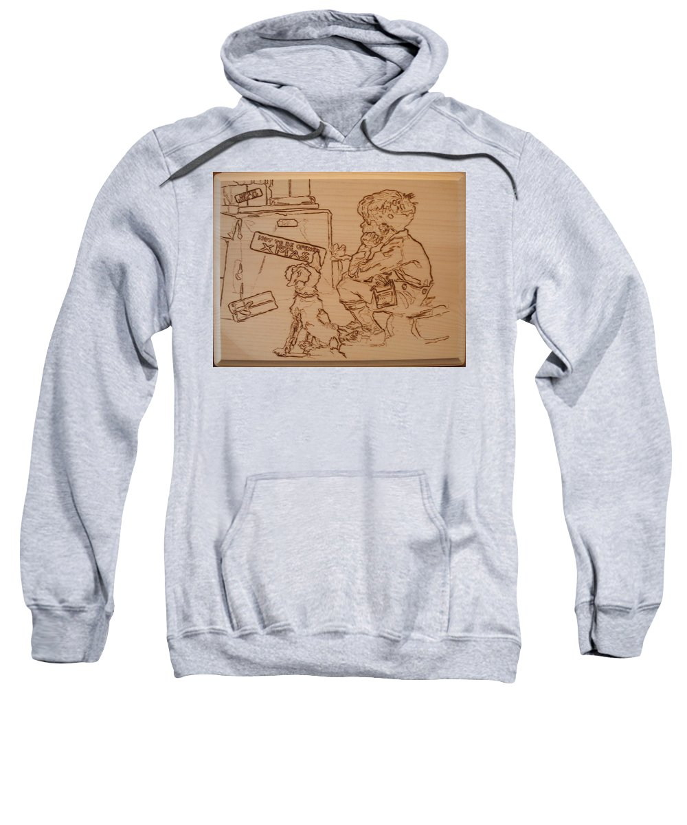 Pyrography Sweatshirt featuring the pyrography Not To Be Opened Until Christmas by Sean Connolly