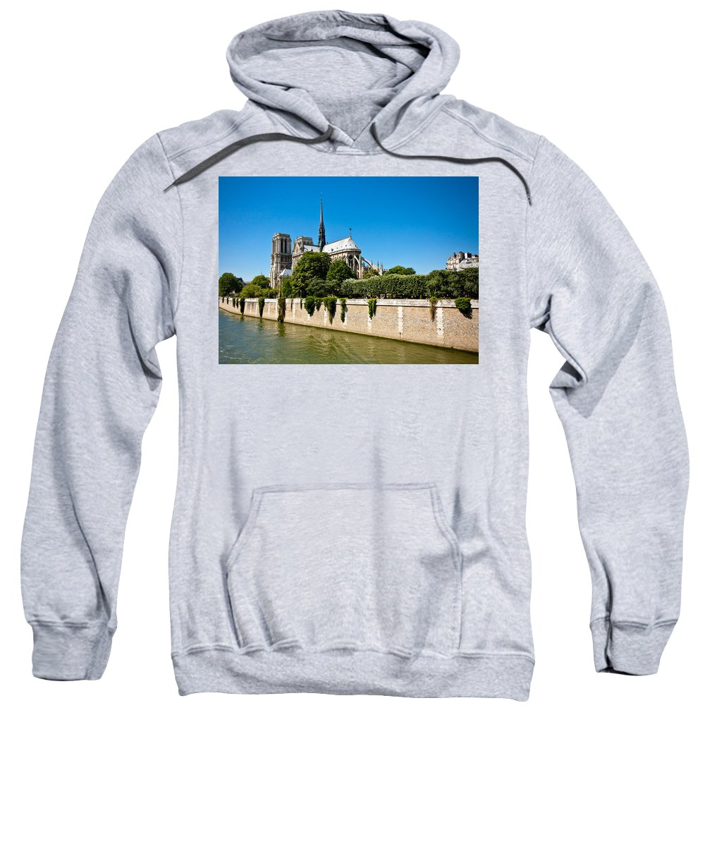 Notre Dame Sweatshirt featuring the photograph Notre Dame Cathedral And The Seine by Anthony Doudt