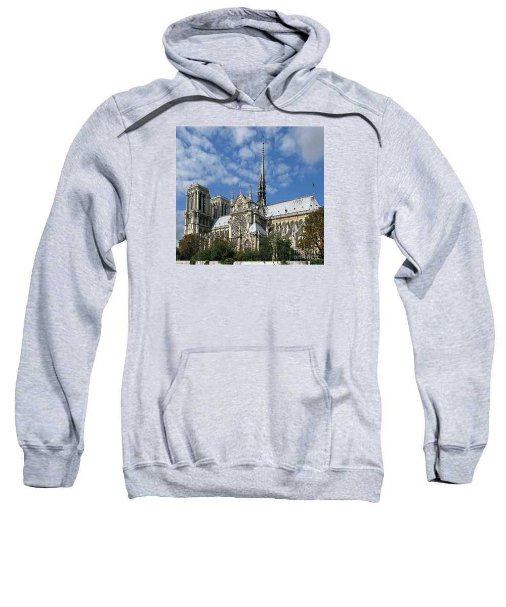 Notre Dame Sweatshirt featuring the photograph Notre Dame Cathedral by Ann Horn
