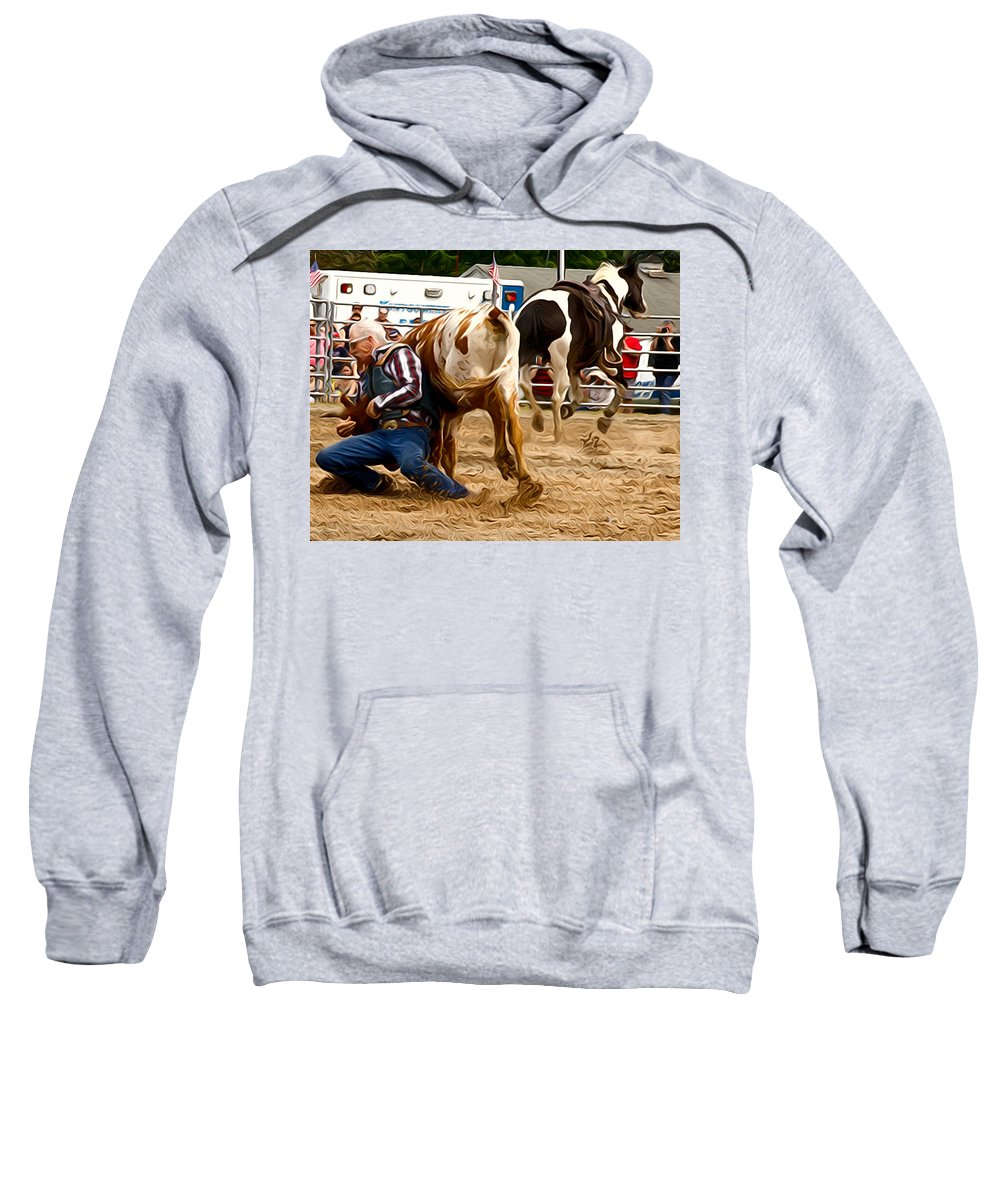 Steer Wrestler Sweatshirt featuring the photograph Now For The Roll by Alice Gipson