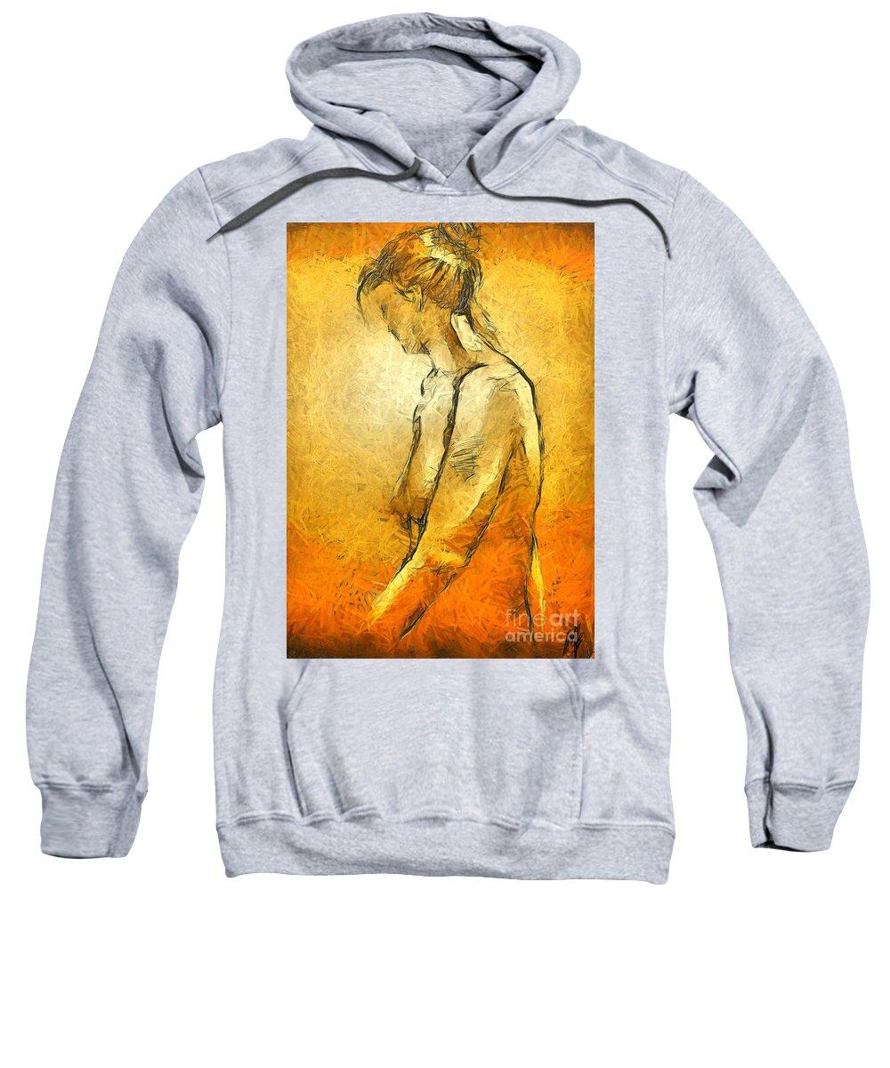 Nude Sweatshirt featuring the painting Nude Viii by Dragica Micki Fortuna
