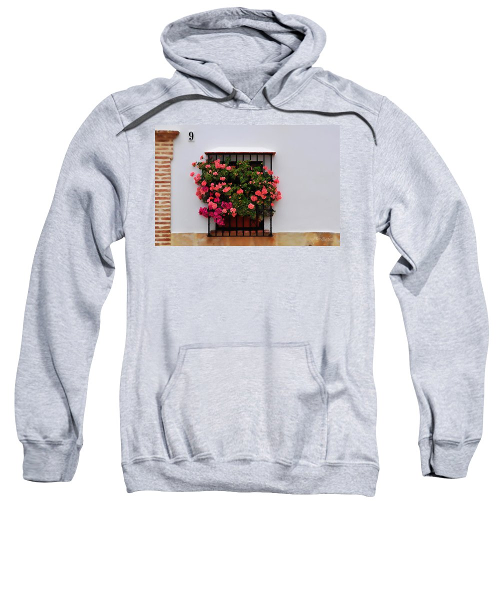 Geraniums In The Window Sweatshirt featuring the photograph Number 9 - Geraniums In The Window by Mary Machare