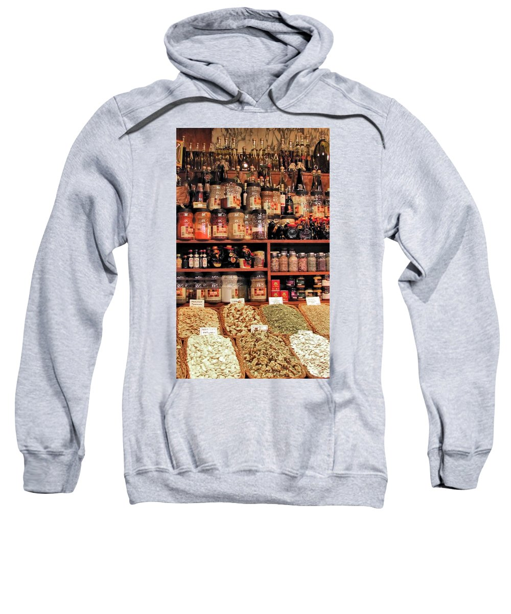Farmer's Market Sweatshirt featuring the photograph Nut Shop by Jennifer Wheatley Wolf
