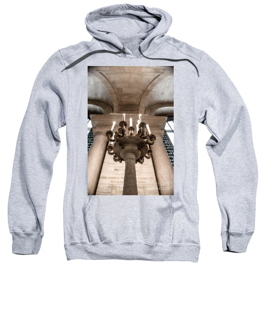 Ny Sweatshirt featuring the photograph Ny Public Library Candelabra by Angela DeFrias