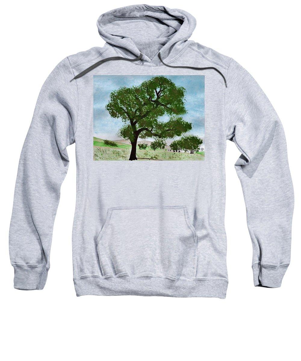 Landscape Sweatshirt featuring the drawing Oak Tree Landscape by D Hackett