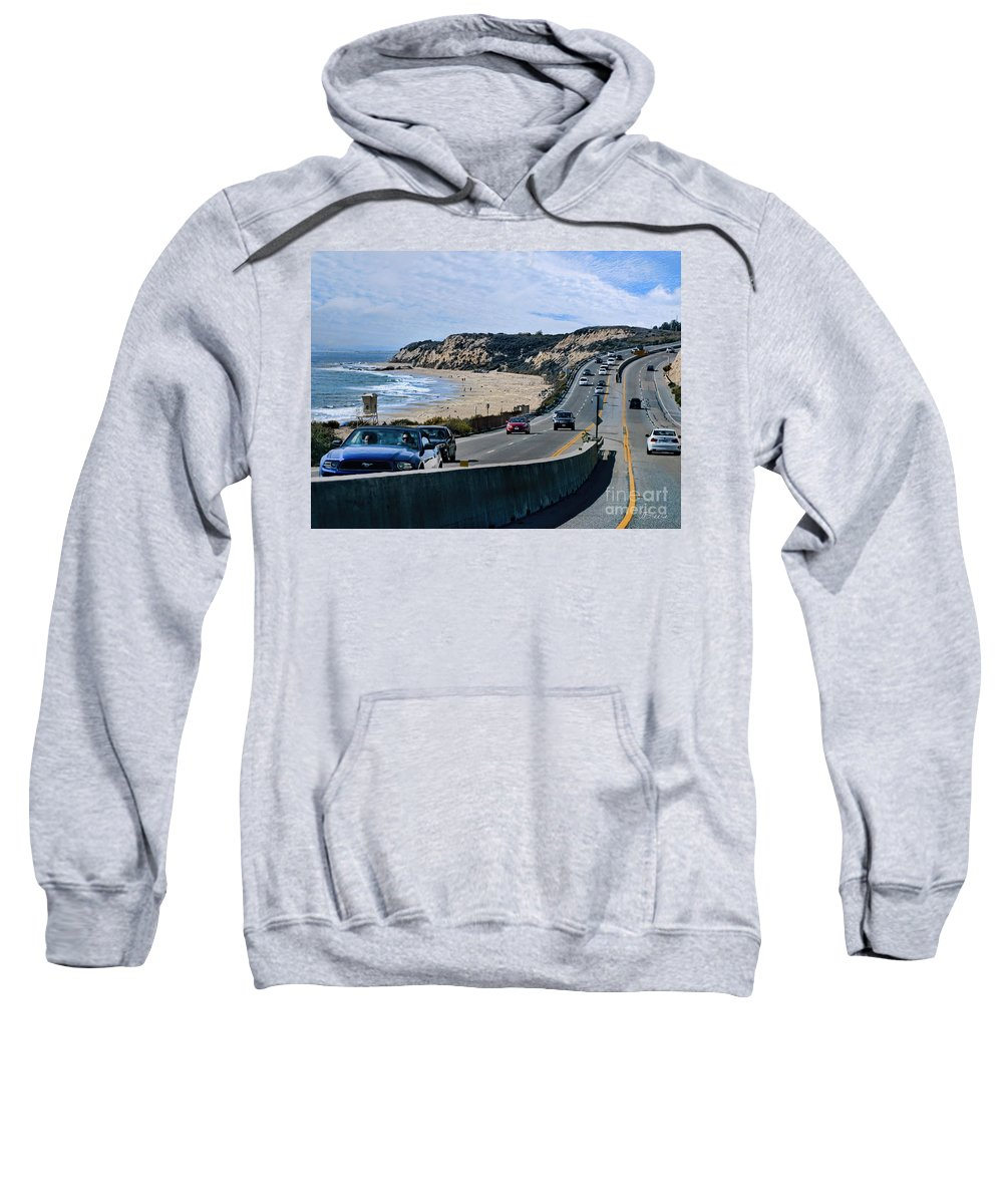 Orange County Sweatshirt featuring the photograph Oc On Pch In Ca by Jennie Breeze