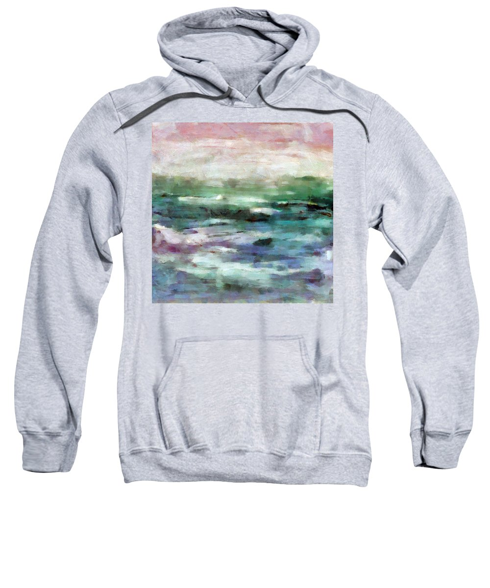 Ocean Sweatshirt featuring the mixed media Ocean 2 by Angelina Vick