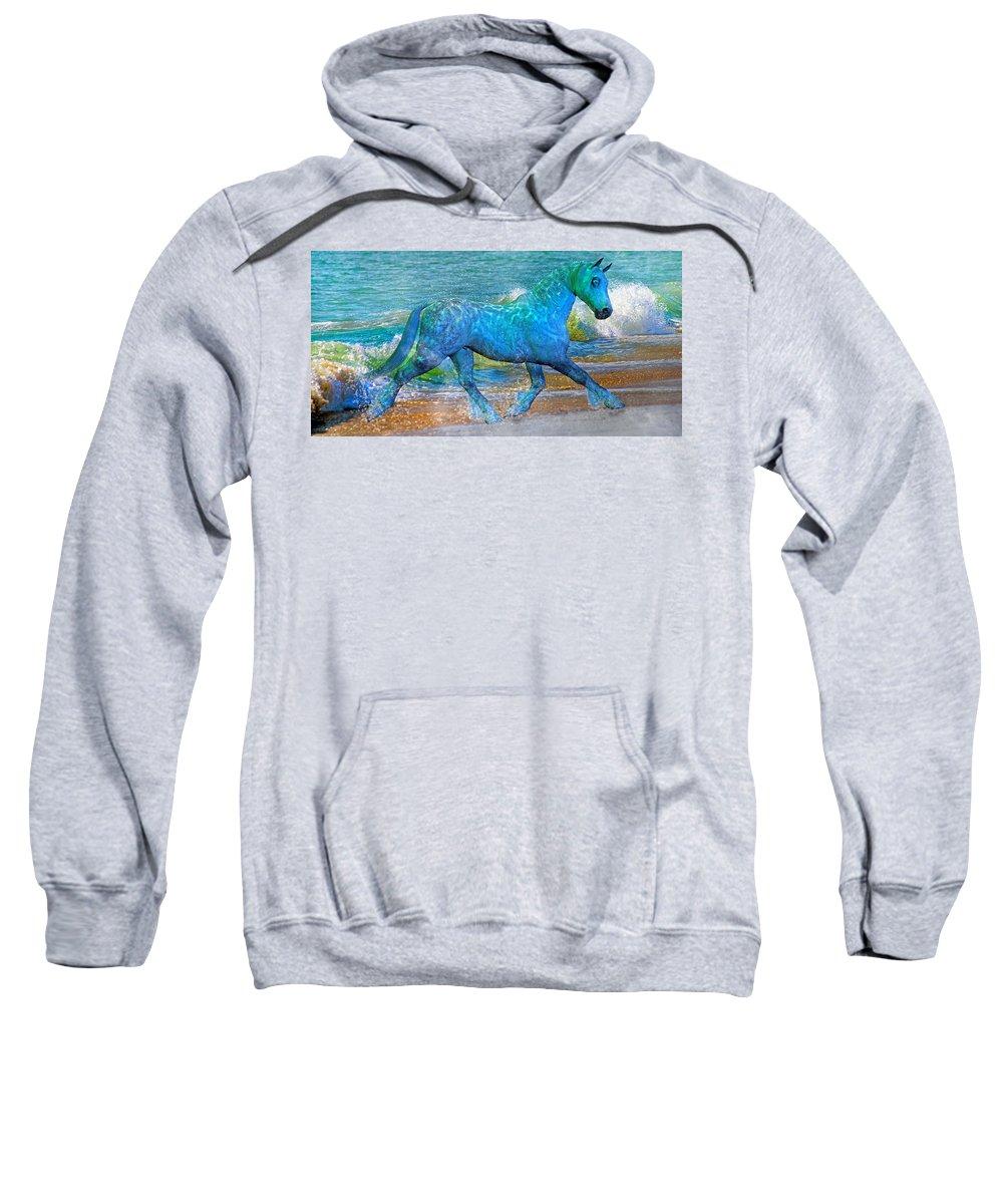 Horse Sweatshirt featuring the mixed media Ocean Of One I Of II by Betsy Knapp