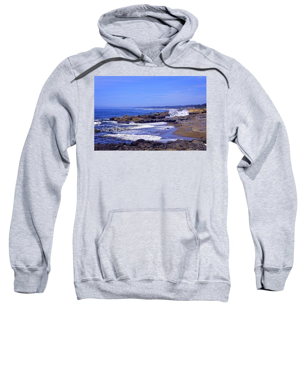 Yachats Sweatshirt featuring the photograph Ocean Spray At Yachats 2013 by Image Takers Photography LLC