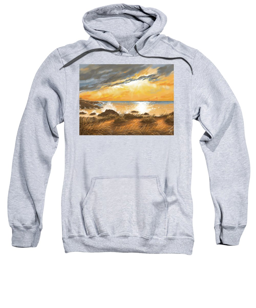 Sunset Sweatshirt featuring the painting Ocean by Veronica Minozzi