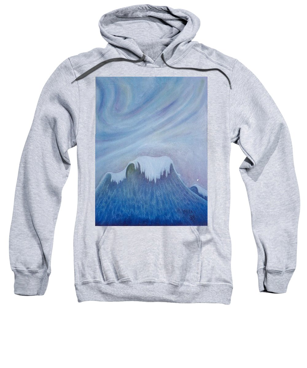 Ocean Sweatshirt featuring the painting Ocean Wave by Micah Guenther