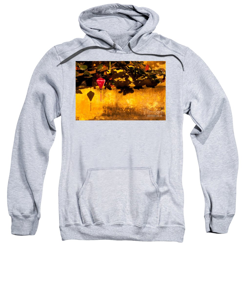 Vietnam Sweatshirt featuring the photograph Ochre Wall Silk Lantern 01 by Rick Piper Photography