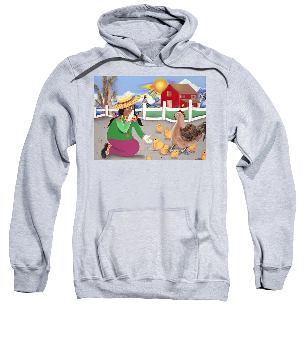 Sabree Sweatshirt featuring the painting Oh Chick by Patricia Sabree