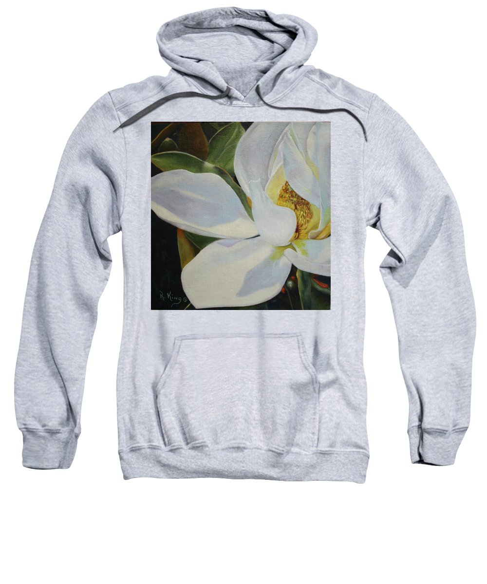 Roena King Sweatshirt featuring the painting Oil Painting - Sydney's Magnolia by Roena King
