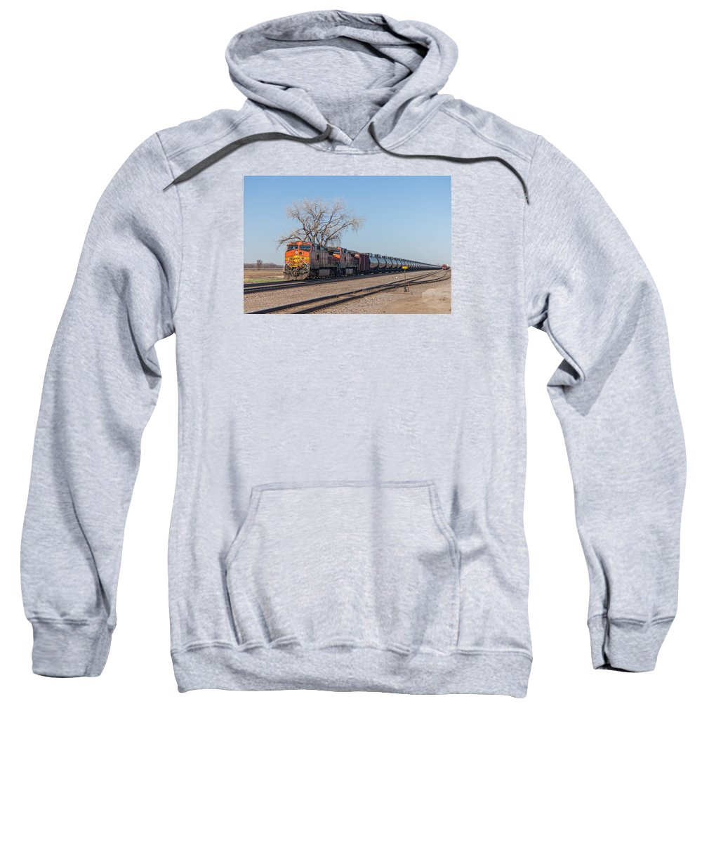 Bnsf Sweatshirt featuring the photograph Bnsf Oil Train In Dilworth Minnesota by Steve Boyko