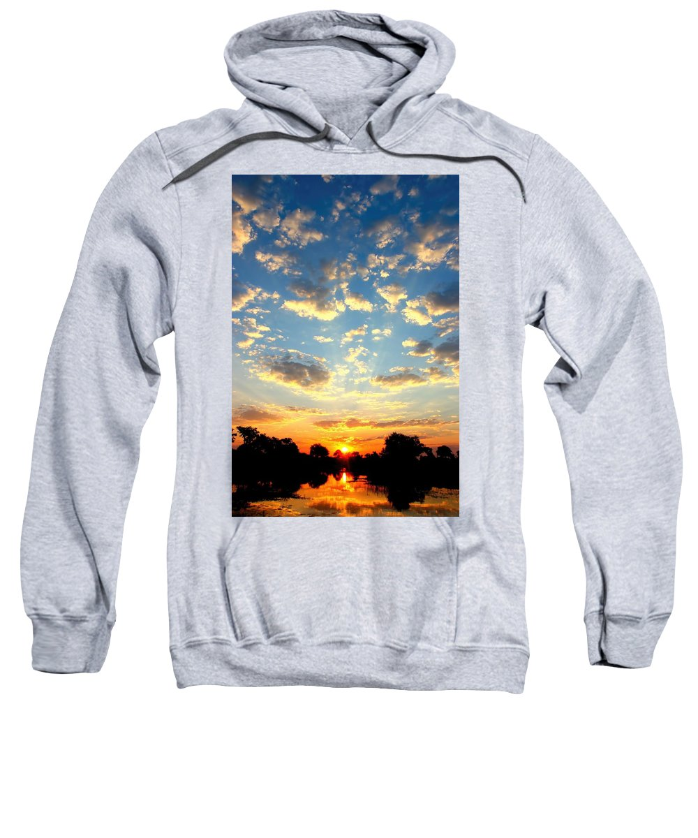 Okavango Swamp Sweatshirt featuring the photograph Okavango Delta Sunset by Amanda Stadther
