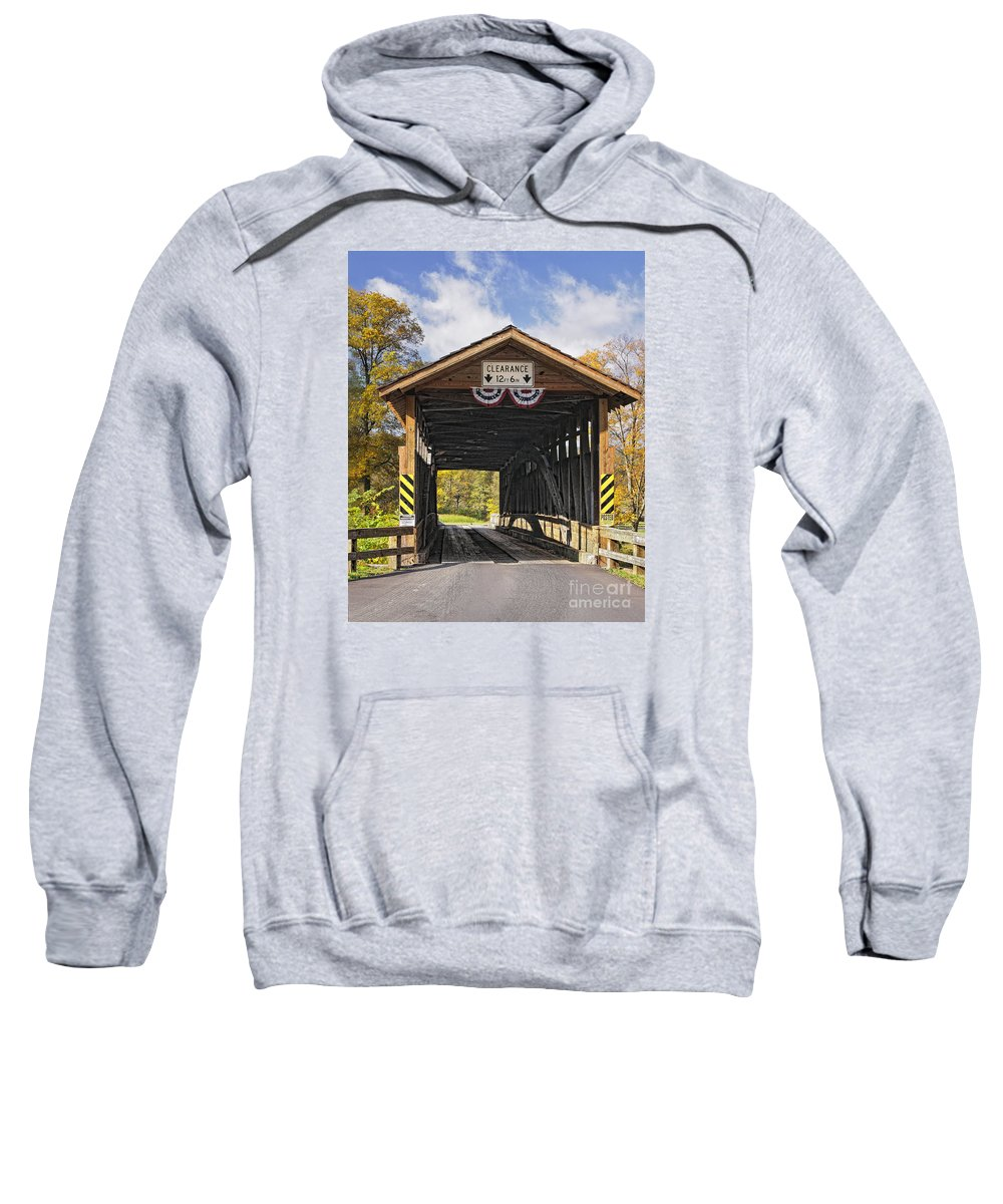 Covered Bridge Sweatshirt featuring the photograph Old Bedford Village Covered Bridge Entrance by Timothy Flanigan