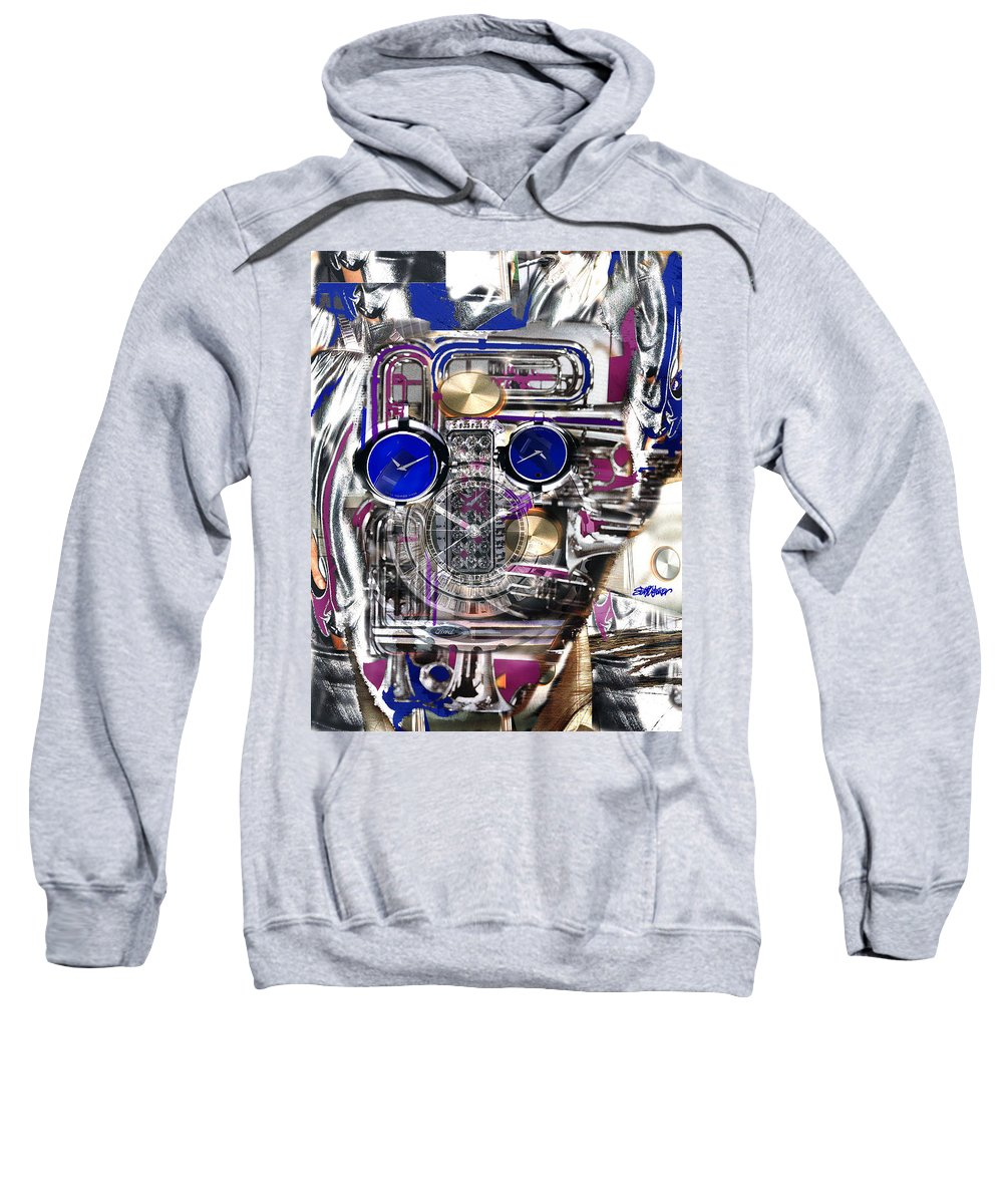 Robotic Time Traveller Sweatshirt featuring the digital art Old Blue Eyes by Seth Weaver