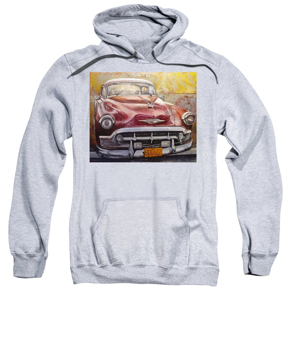 Havana Sweatshirt featuring the painting Old Cadillac by Tomas Castano