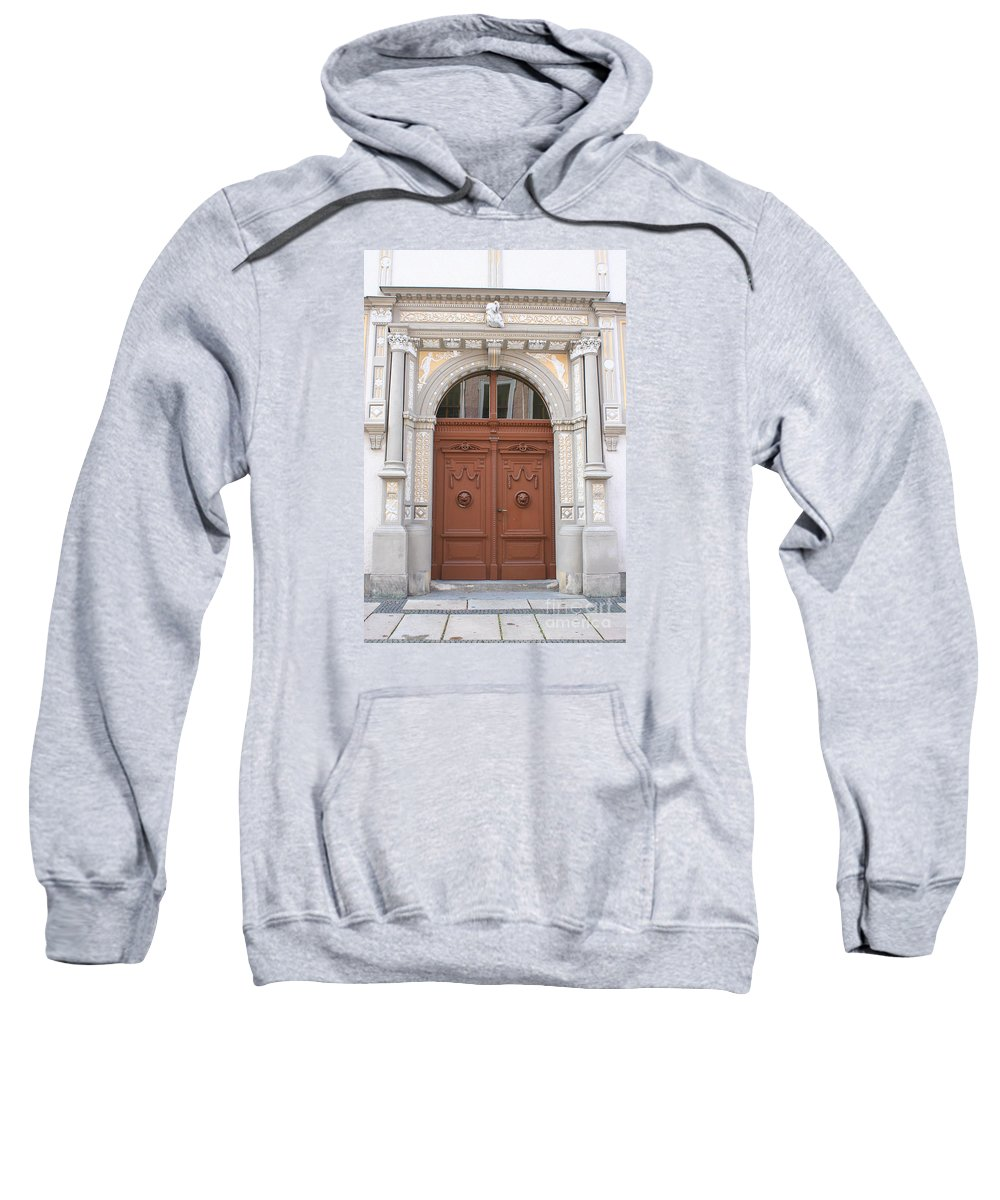 Door Sweatshirt featuring the photograph Old Entrance Door With Lionheads by Christiane Schulze Art And Photography