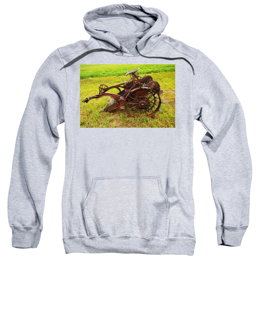 Farming Sweatshirt featuring the photograph Old Farm Equipment Hardin Montana by Jeff Swan