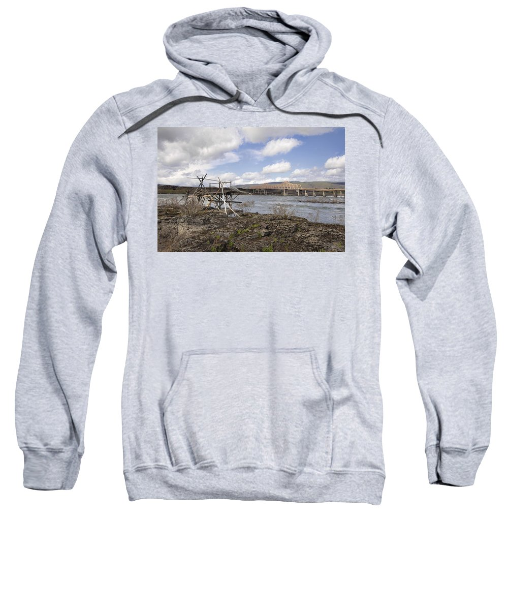 Fishing Sweatshirt featuring the photograph Old Fishing Platform By The Dalles Bridge by Jit Lim