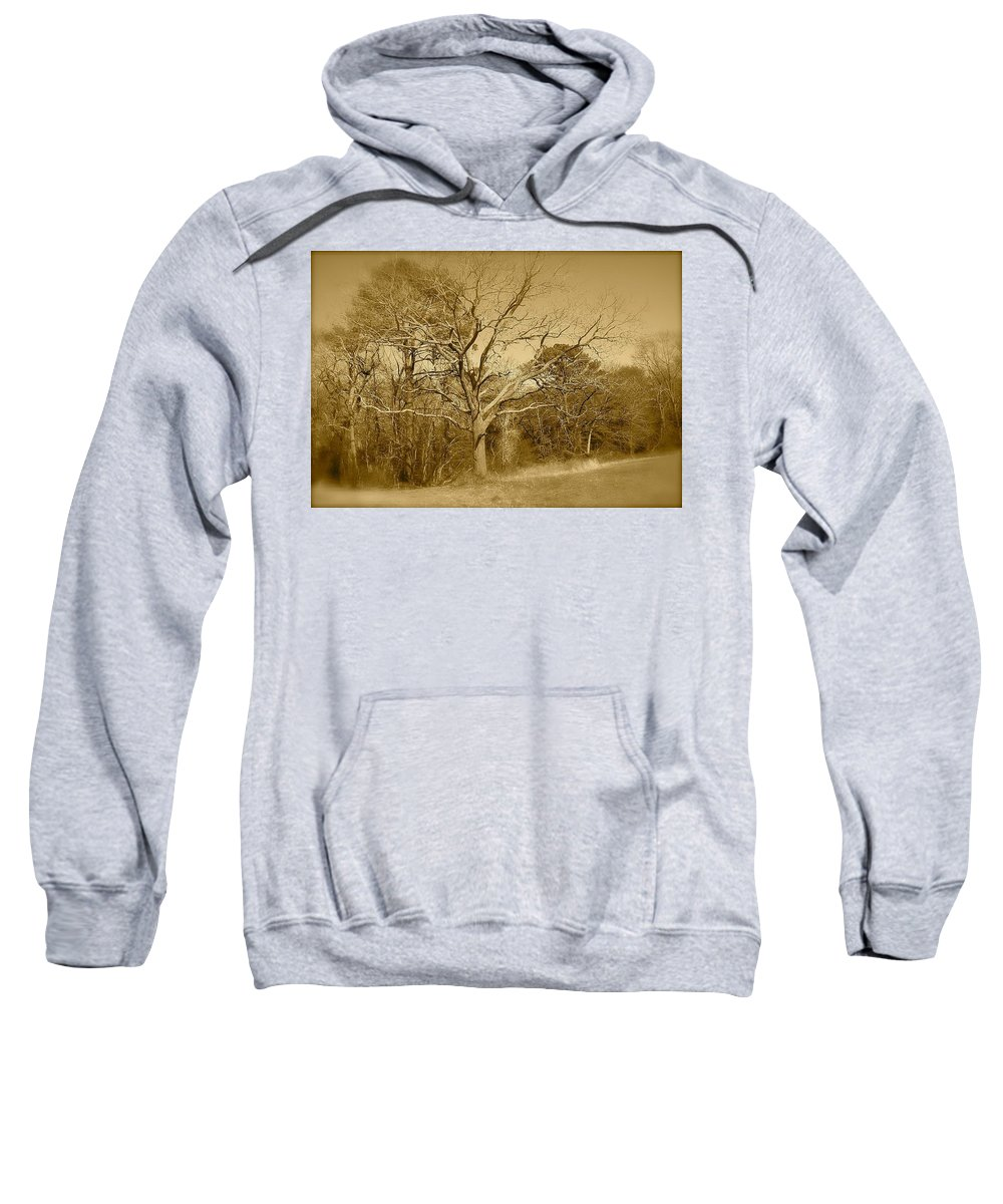 Old Sweatshirt featuring the photograph Old Haunted Tree In Sepia by Chris W Photography AKA Christian Wilson