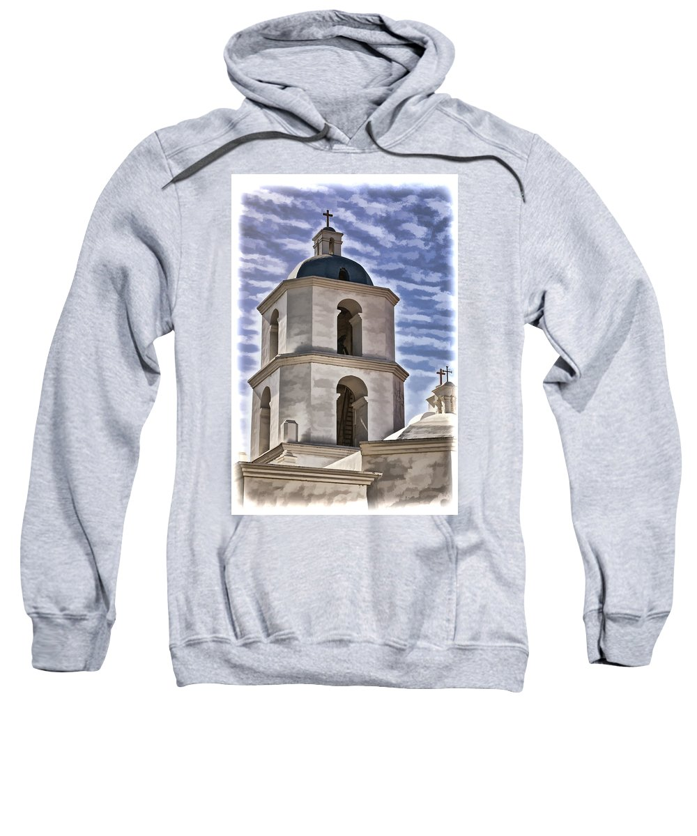 Mission San Luis Rey California Sweatshirt featuring the photograph Old Mission San Luis Rey Tower - California by Jon Berghoff