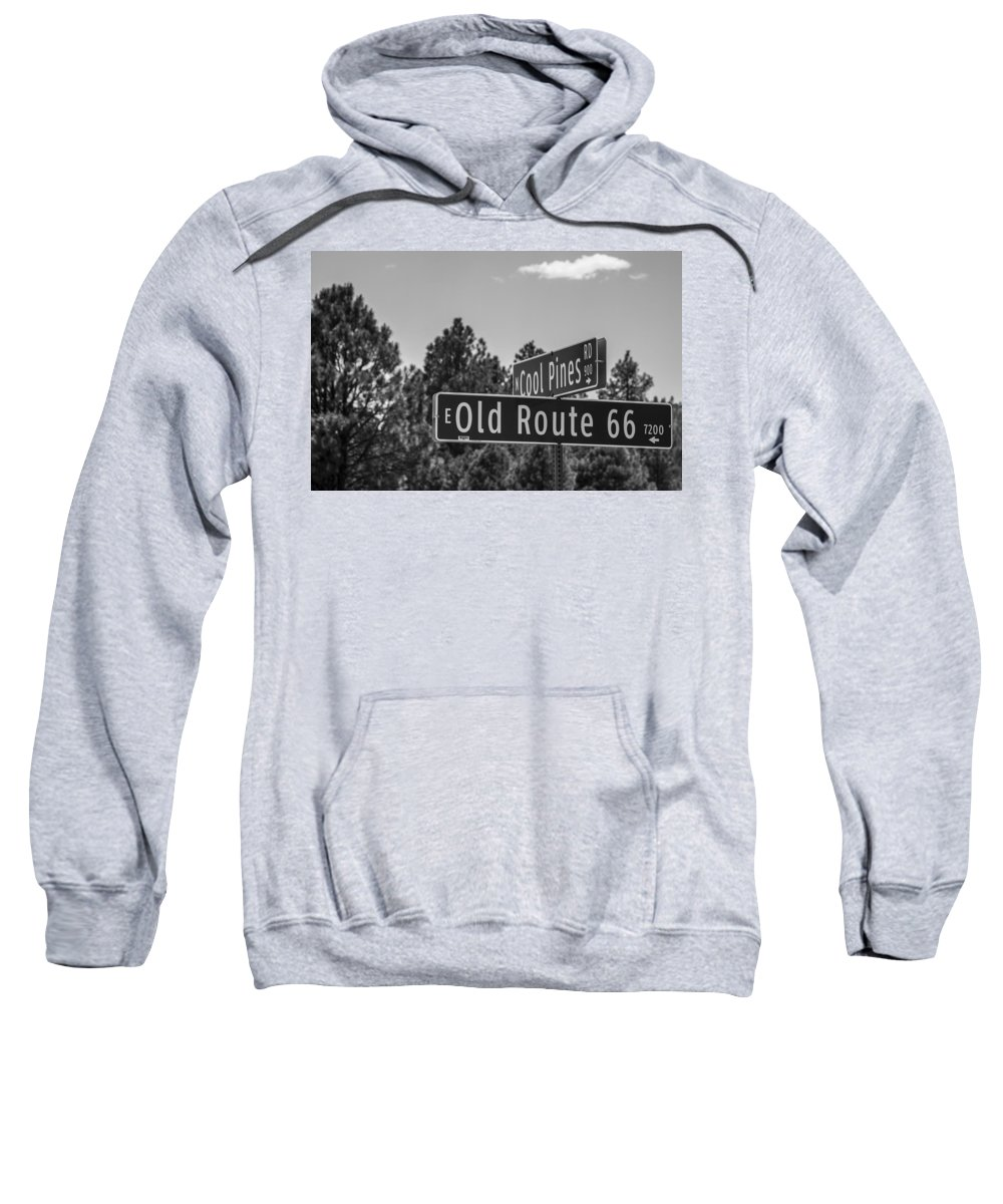 Route 66 Sweatshirt featuring the photograph Old Route 66 And Cool Pines by Angus Hooper Iii