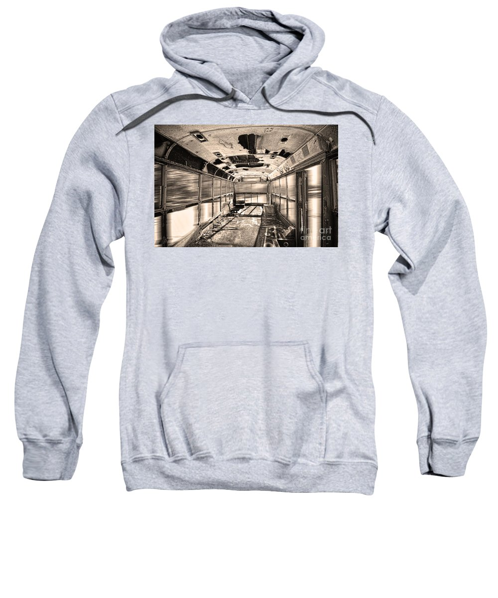 'school Bus' Sweatshirt featuring the photograph Old School Bus In Sepia Motion by James BO Insogna