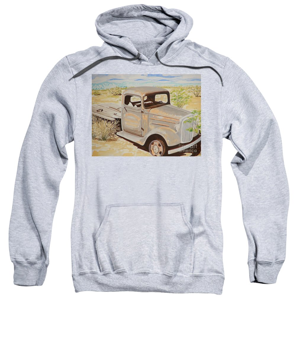 Old Truck 32 Chevy Flat Bed Sweatshirt featuring the painting Old Truck by John Wilson