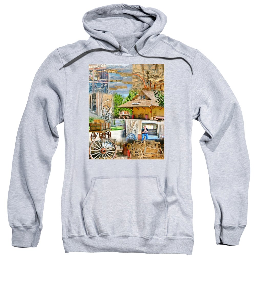 Wagon Wheels Sweatshirt featuring the photograph Old West Collage by Marilyn Diaz