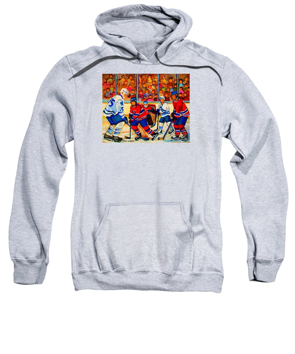 Hockey Sweatshirt featuring the painting Olympic Hockey Hopefuls Painting By Montreal Hockey Artist Carole Spandau by Carole Spandau