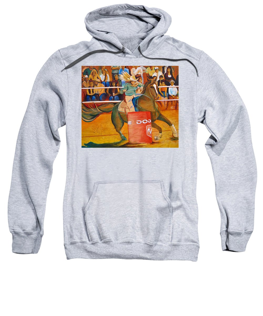Horse Sweatshirt featuring the painting On A Dime by Joshua Morton